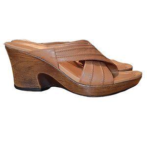 Dansko Leather Criss Cross Wedge Sandal 39/8.5/9